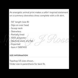 Topshop Dresses - NWT's Animal Print Midi Dress with Slit